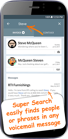 YouVOXX Voicemail to Text app search feature graphic